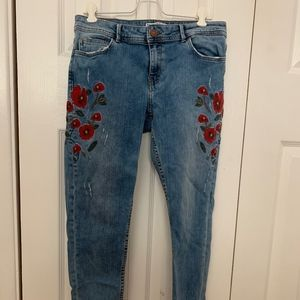 Zara Red Floral Embroidered Jeans